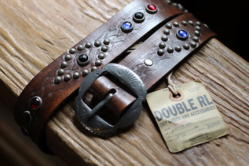 "Ralph Lauren/DOUBLE RL ""Jewel-Studded LeatherBelt"""