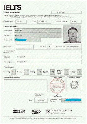 IELTS band in Mongolia