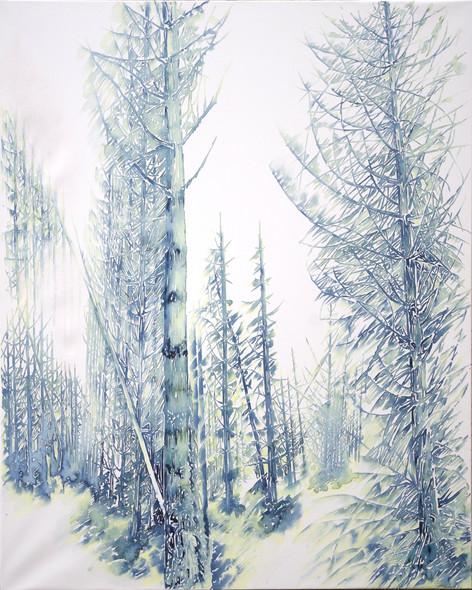 Pins Laricio, étude des fûts. 2017. 135 x 160 cm. Aquarelle sur papier tendu sur chassis
