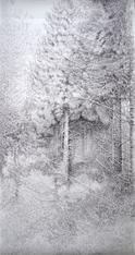 Pin Laricio, jeune futaie. 2016. 200 x 100 cm. Stylo roller sur papier Fabriano