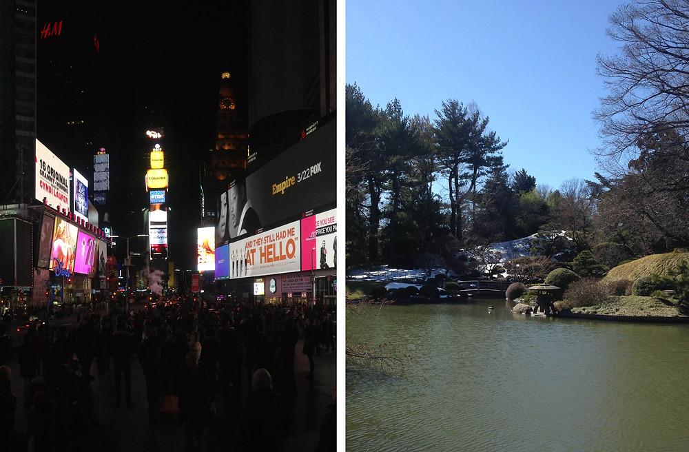 Times Square v/s Japanese Garden