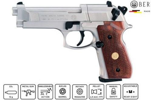 Beretta M92 FS Nickel/Walnut Grip Co2 Pistol