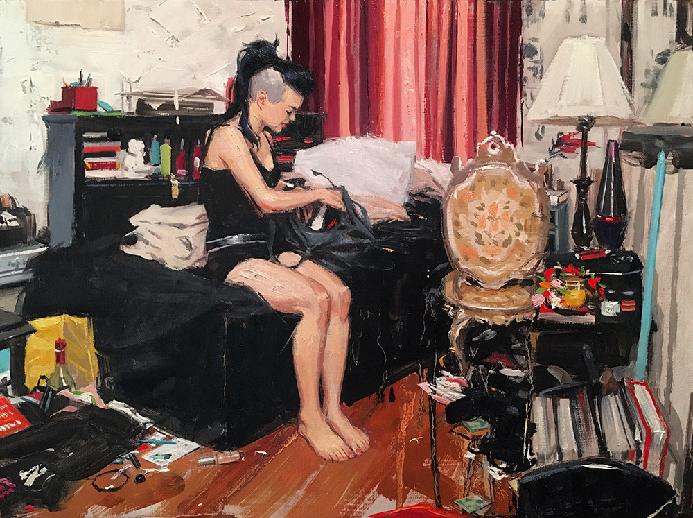 Alex in her bedroom, painting by Vincent Giarrano, 9 x12
