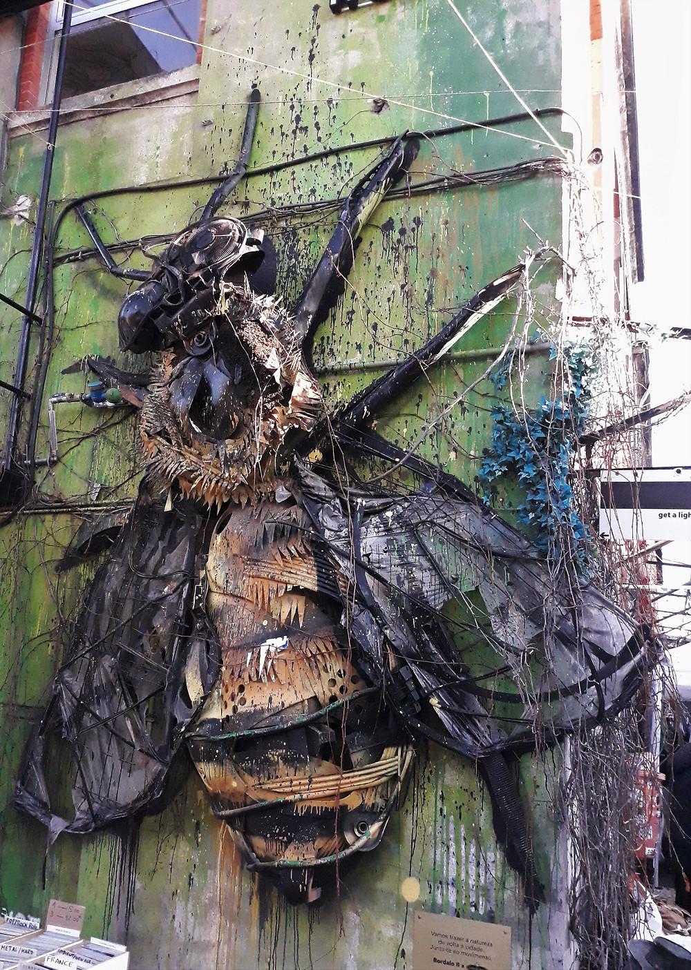 Bee installation by Bordalo II - LX Factory, Lisbon - Picture taken by Artrootz.jpg