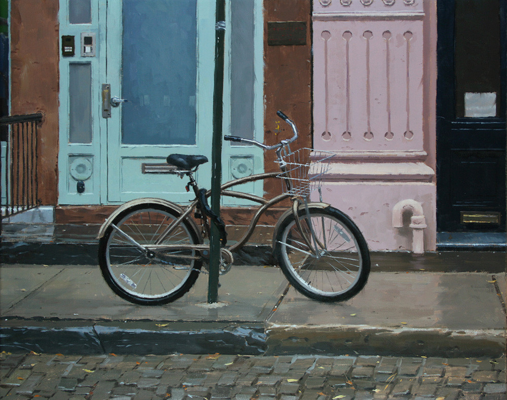 Bicycle in rain, painting by Vincent Giarrano, 16x20