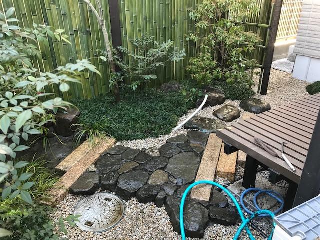 坪庭造り 延べ段・飛び石・蹲踞1
