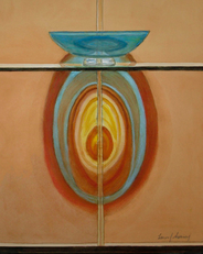 O'Keeffe Homage - Reflections In Blue Glass