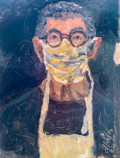 Pandemic Self-Portrait_12 x9 oil on pane