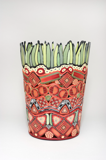 Red Basket with Green Grass
