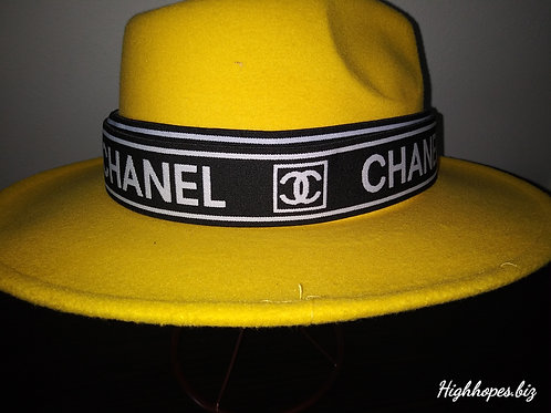 Canary Yellow Fedora w/Black and White Chanel Band