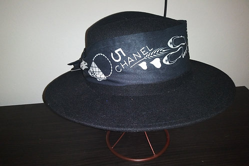 Classic Fedora with Back Chanel Neck Tie