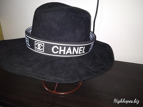 Black Suede Fedora w/Chanel Band