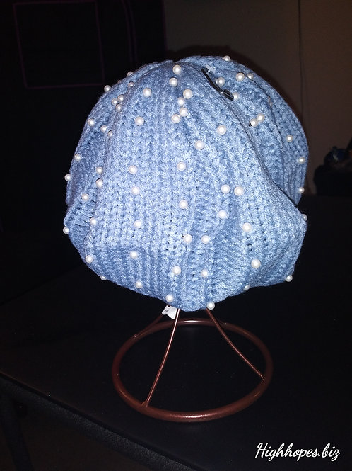 Baby Blue Pearl Knit Fedora