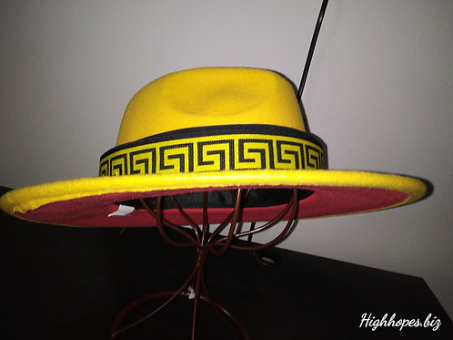 Canary Yellow Red Bottom Fedora w/ Reversible Versace Band