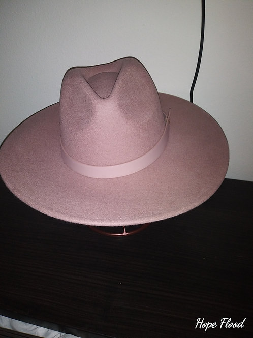 Dusty Rose Wool Fedora With Leather Band