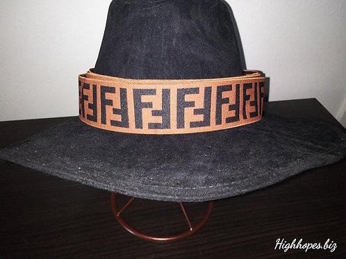 Black Suede Fedora w/Fendi Reversible Band