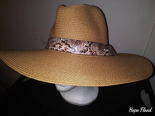 Tan Twill Fedora w/ Snake Skin Band