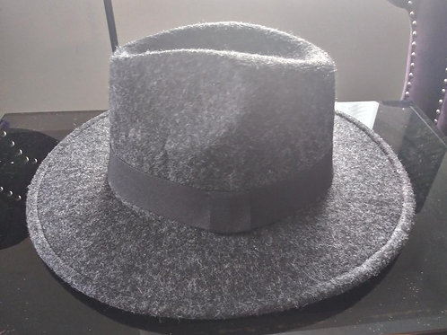 Dark Gray Tweed Fedora