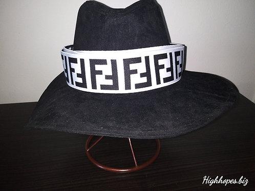 Black Suede Oversized Fedora w/ Reversible Fendi Band