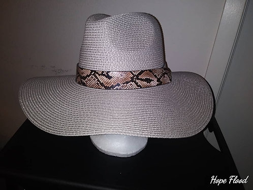 Twill Fedora With Snake Skin Bands