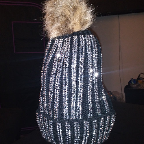 Stud Bling Beanie With Fur Top