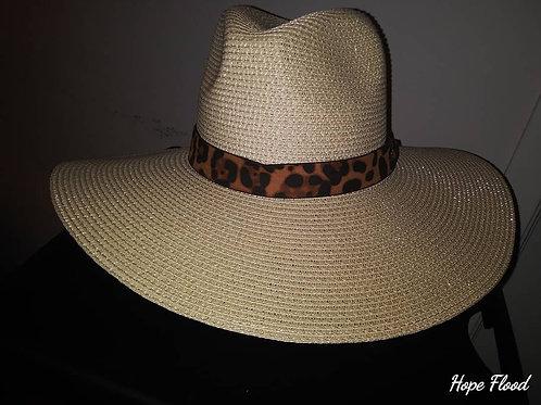 Cream Twill Fedora w/ Cheetah Print Band