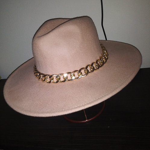 Classic Fedora With Gold Chain
