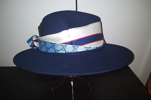 Royal Blue Fedora w/Gucci Necktie