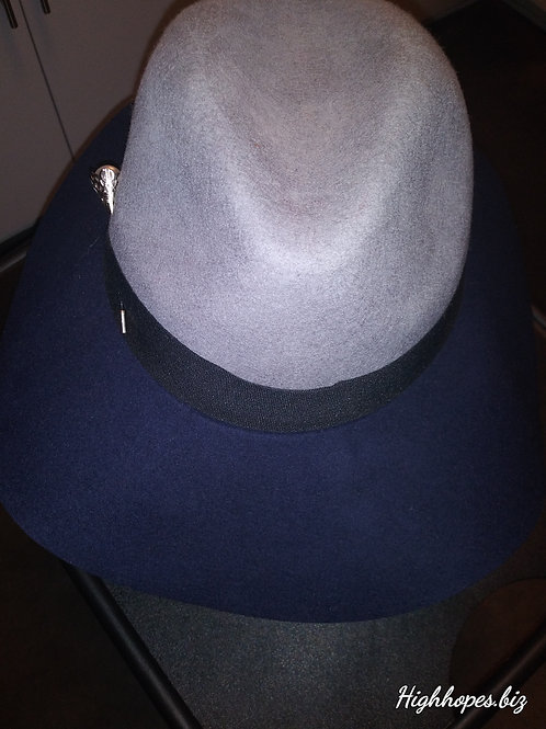 Gray and Navy Two Tone Fedora