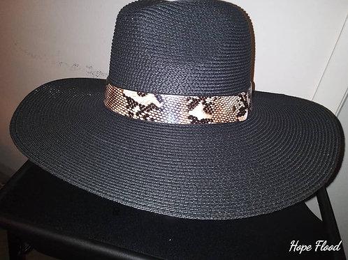 Black Twill Fedora w/ Snake Skin Band