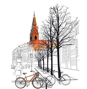digital drawing; cityscape; copenhagen; bicycle