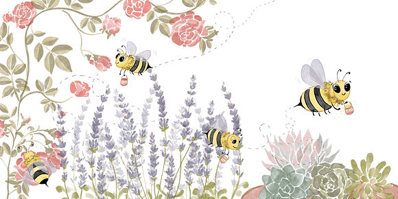 Digital watercolor; bee looking for polen; flowers; roses; lavender; succulents; happy bee with polen bucket