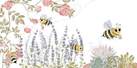 Digital watercolor; bee looking for polen; flowers; roses; lavender; succulents; happy bee with polen bucket