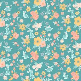 Pattern; digital; rabbit with flowers