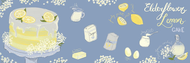 Illustrated Recipe; elderflower lemon cake; blue and yellow