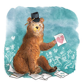 Sketch; digital drawing; watercolor; pencil; bear with a hat drawing; heart