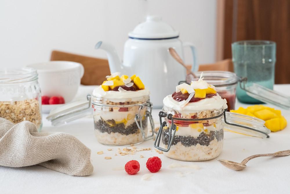 Mango Oat Parfait with Raspberry Rhubarb Coulis