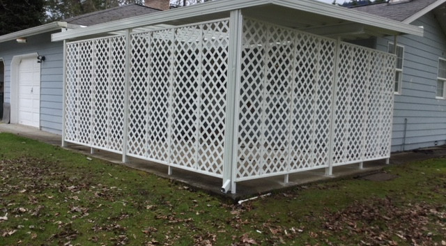 W-Panel Patio Cover with Skylight and Lattice