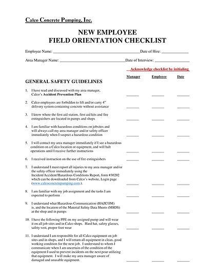 New Employee Field Orientation Checklist