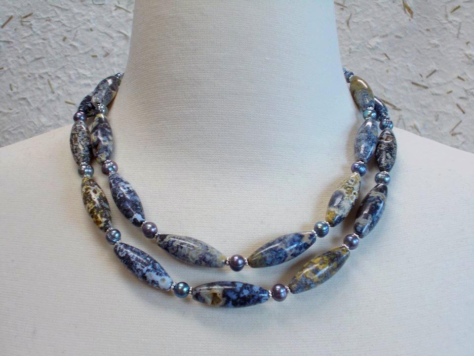 Madagasgar Plume Agate and Pearls