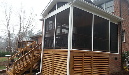 Decks in Raleigh, Screened porch, Sunroom construction, Trex decking, Custom Decks, Screen Enclosures, Covered Porches, Gazebo Construction