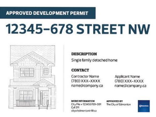 Edmonton Development Permit Sign - Large