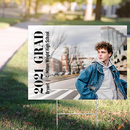Graduate Yard Sign - Design 3 w/ Image