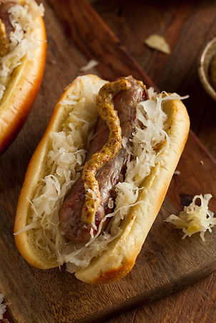 Beer Bratwurst with Sauerkraut and Spicy