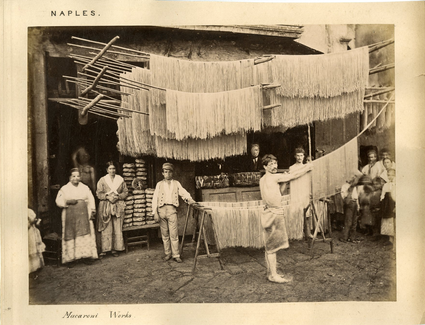 Drying pasta in the streets of Bozza's hometown, Naples