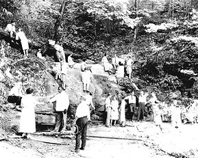 1800s era image of people enjoying the rocks at Montvale Springs