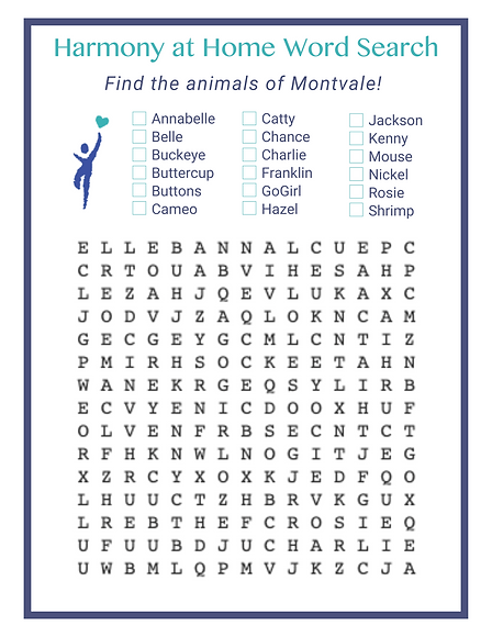 Harmony at Home Word Search - find the animals a Montvale