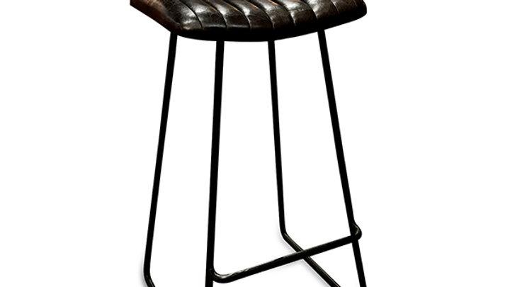 Dario Antique Black Leather Barstool