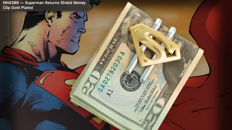 DC - Superman Returns Shield Money Clip Gold Plated