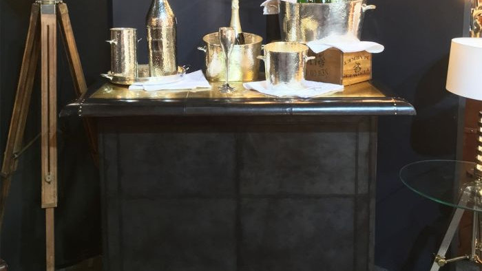 Panama Leather Bar Counter with Brass Top - Dark Grey